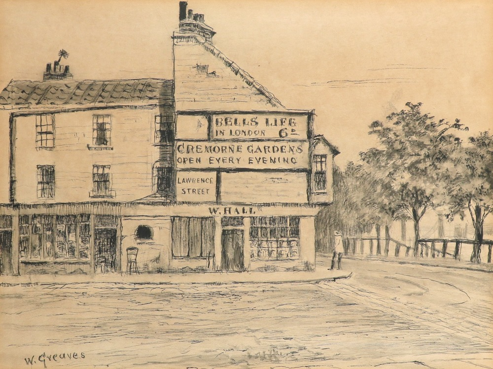 Walter Greaves (1846-1930) Thames Coffee House, Cheyne Walk, Chelsea Signed W.Greaves (lower left)