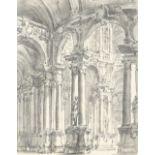 Circle of Filippo Juvarra Interior of a baroque palace Pen and black ink and grey wash 19 x 15.