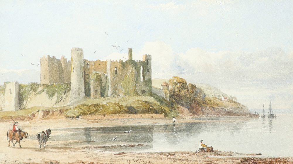 George Arthur Fripp (1813-1896) View of Laugharne Castle, Wales Signed G A Fripp. / 1840. (lower