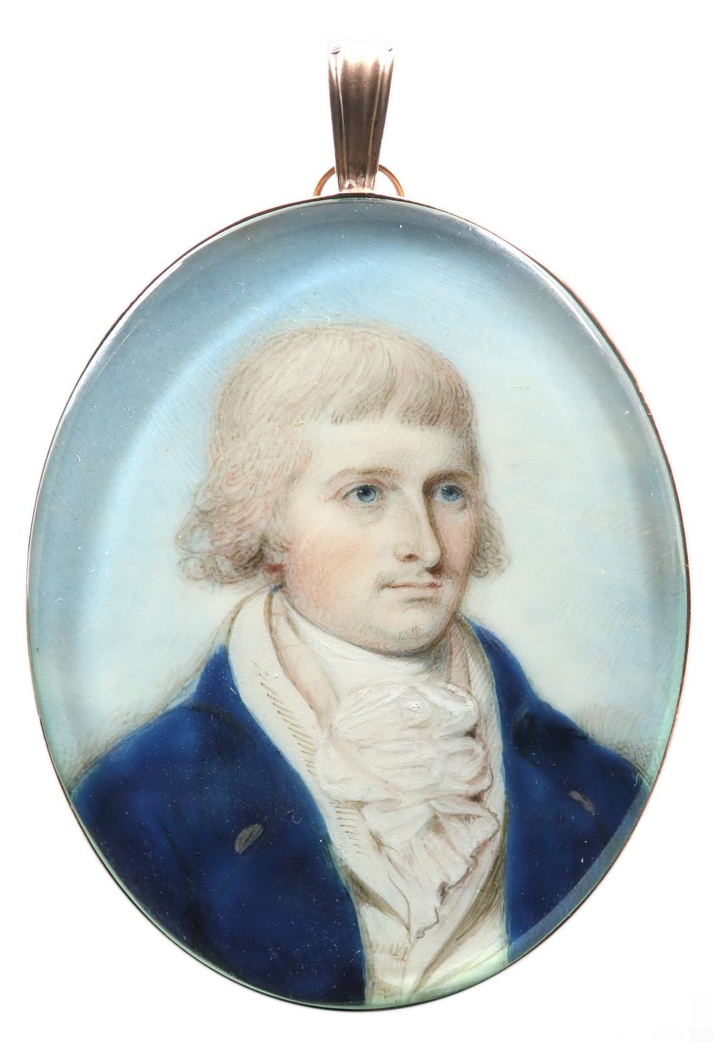 λThomas H. Hull (act. 1775-1827) Portrait miniature of a gentleman in a blue coat and white