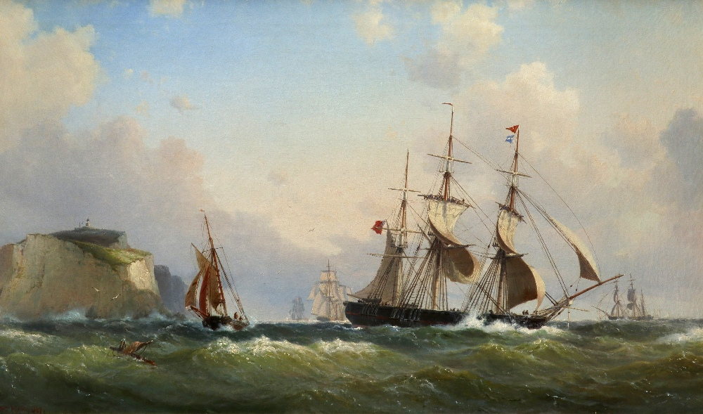 Wilhelm Melbye (Danish 1824-1882) Shipping off Scratchell's Bay, Isle of Wight Signed and dated Wm