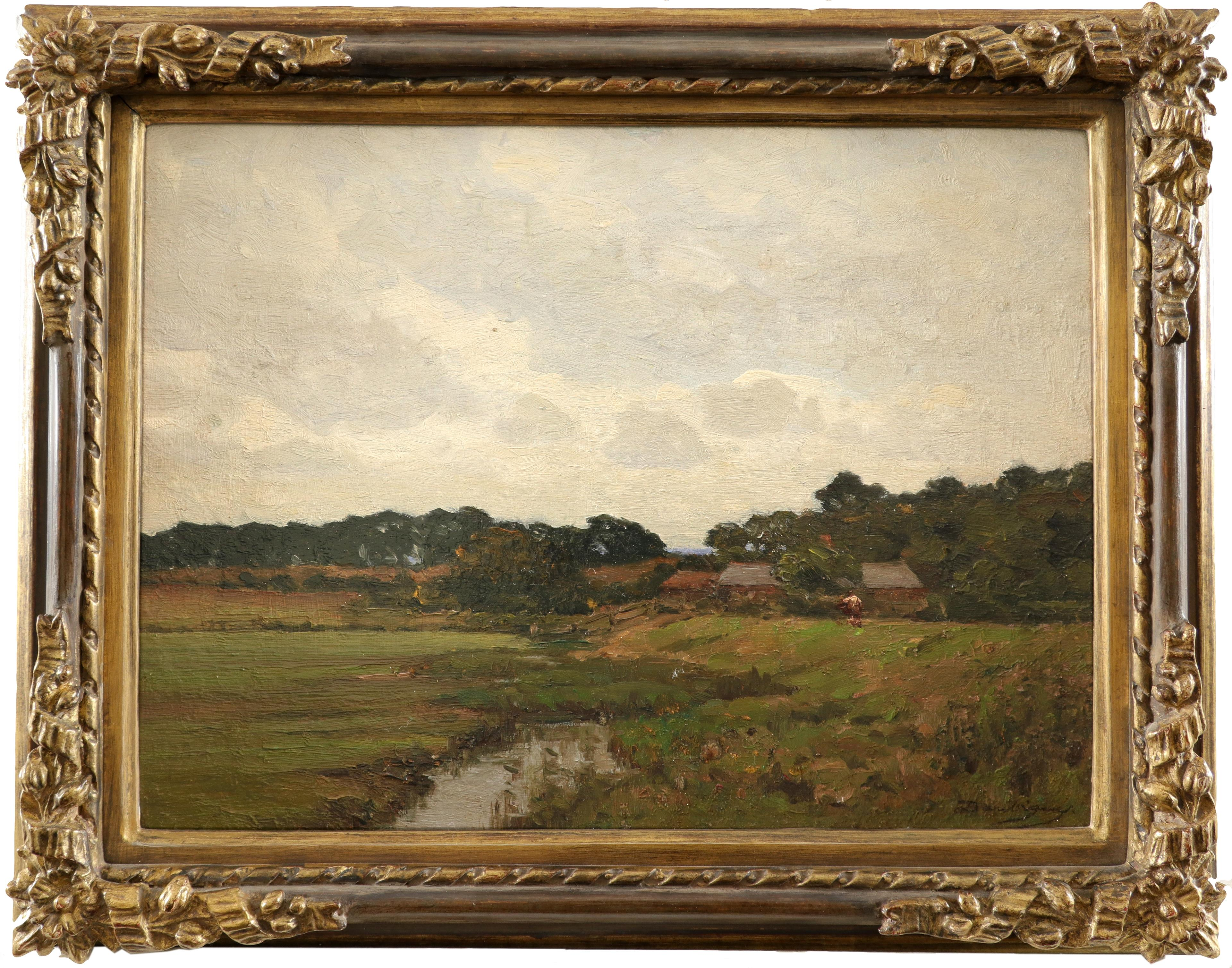 Charles-François Daubigny (French 1817-1878) Farm buildings in a French landscape Signed Daubigny ( - Image 2 of 3