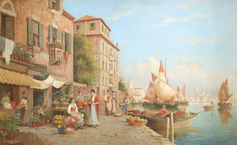 Arthur Trevor Haddon RBA (1864-1941) A view of Venice with flower, fruit and fish sellers Signed