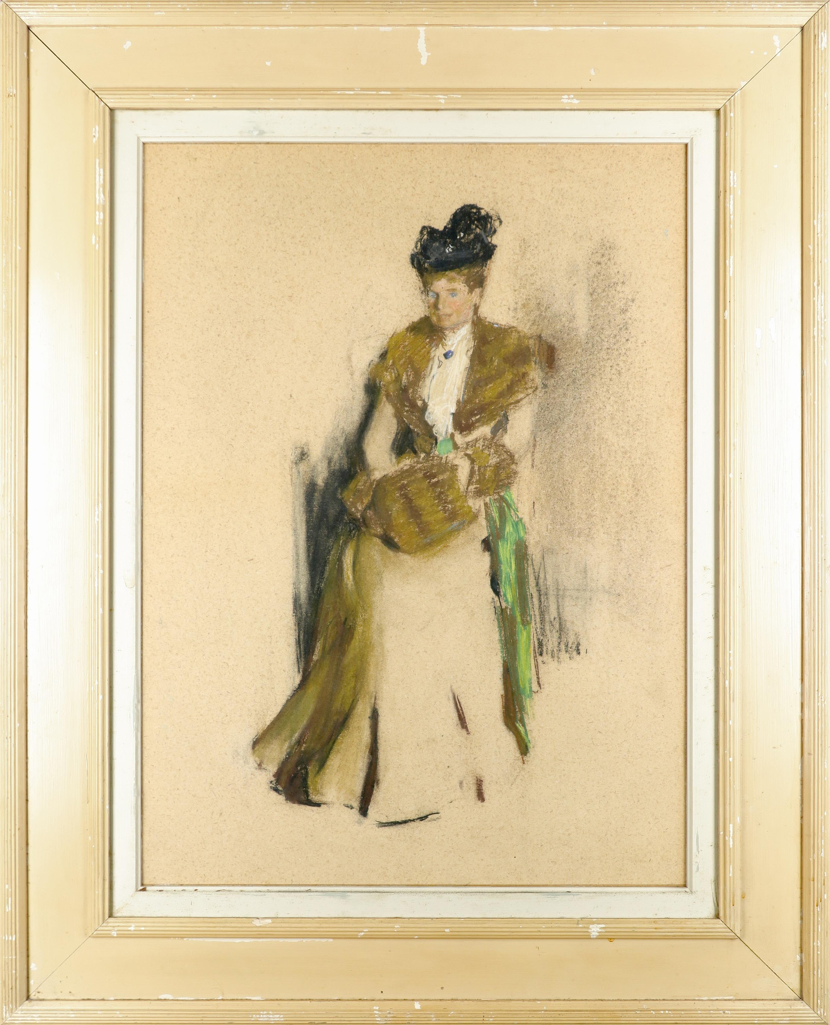 Circle of Sir James Guthrie Study of a lady wearing a fur-lined coat and black hat, and holding a - Image 2 of 3