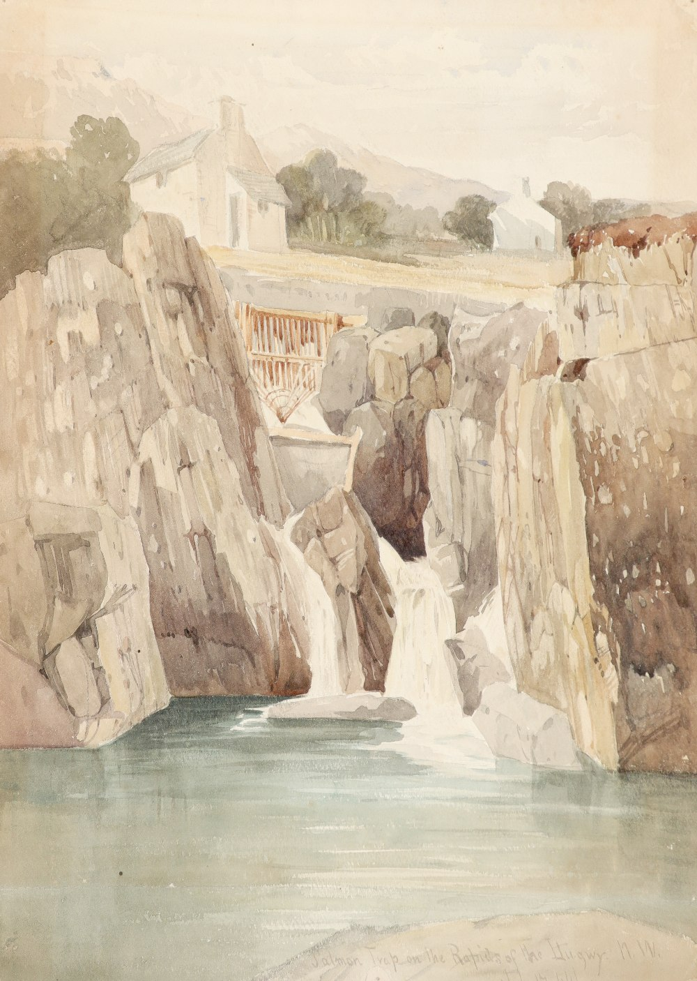 Harry John Johnson (1826-1884) Salmon trap on the rapids of the Llugwy, North Wales; Landscape
