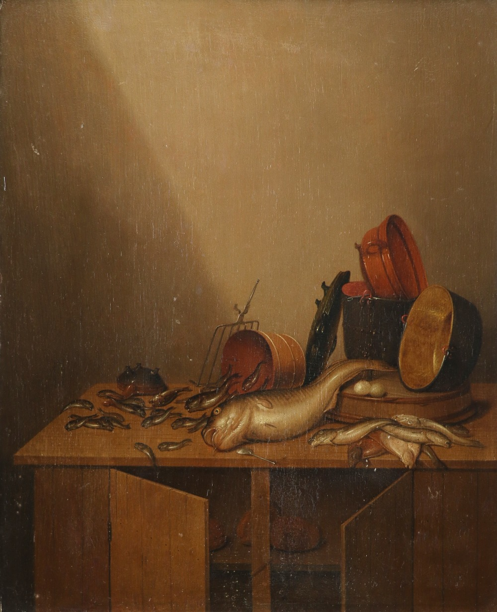Gerrit van Vucht (Dutch 1610-1697) Still life with fish, eggs, bread and pans Signed with