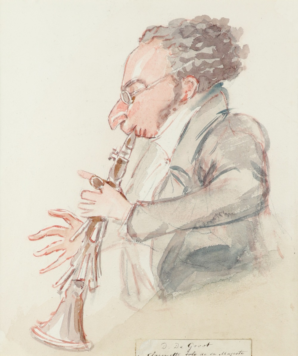 Alfred Edward Chalon RA (Swiss 1780-1860) David de Groot playing the clarinet Pencil, pen and ink,