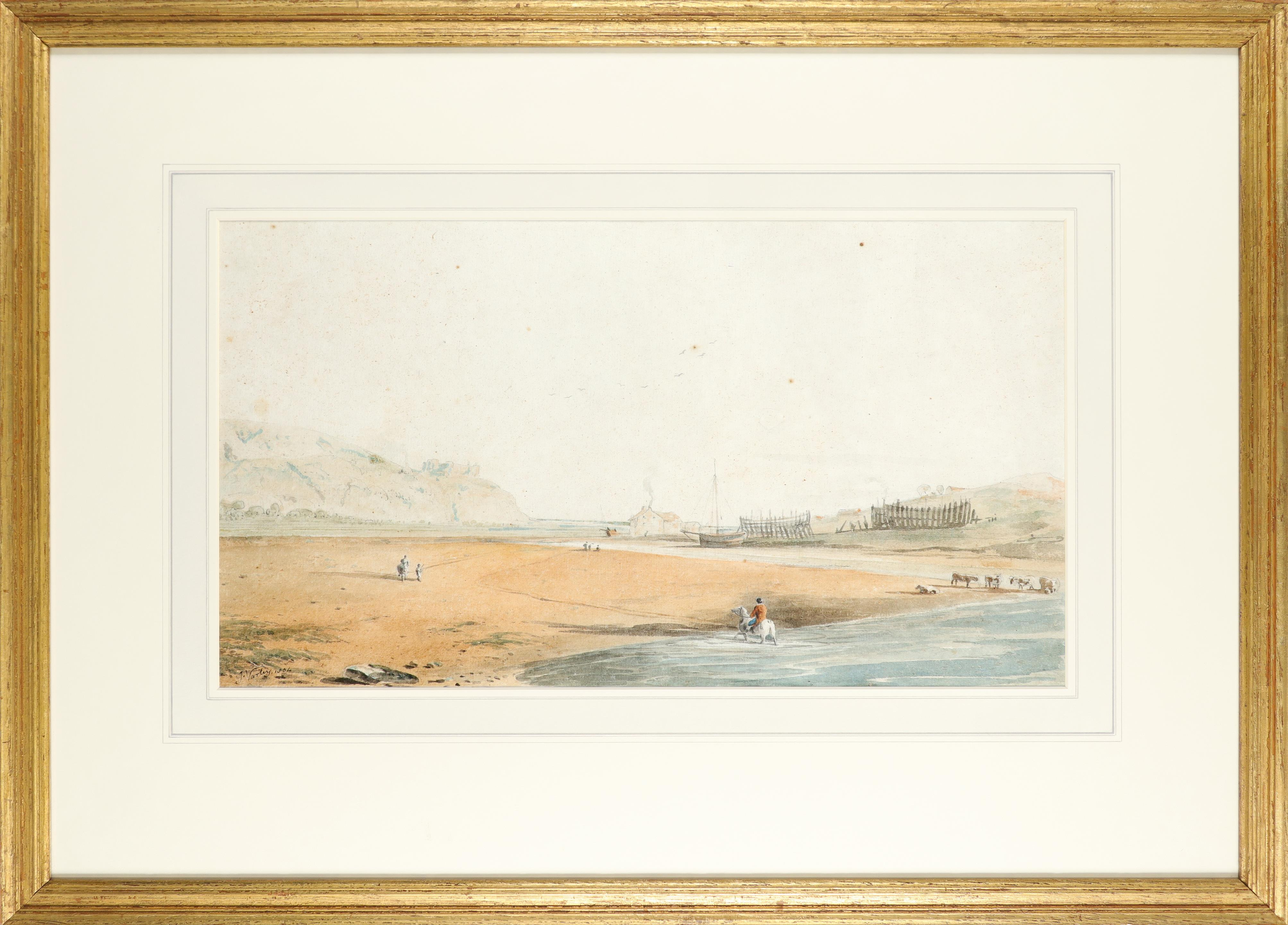 John Varley Snr. (1778-1842) Coastal scene with Harlech Castle in the distance Signed and dated J. - Image 2 of 3