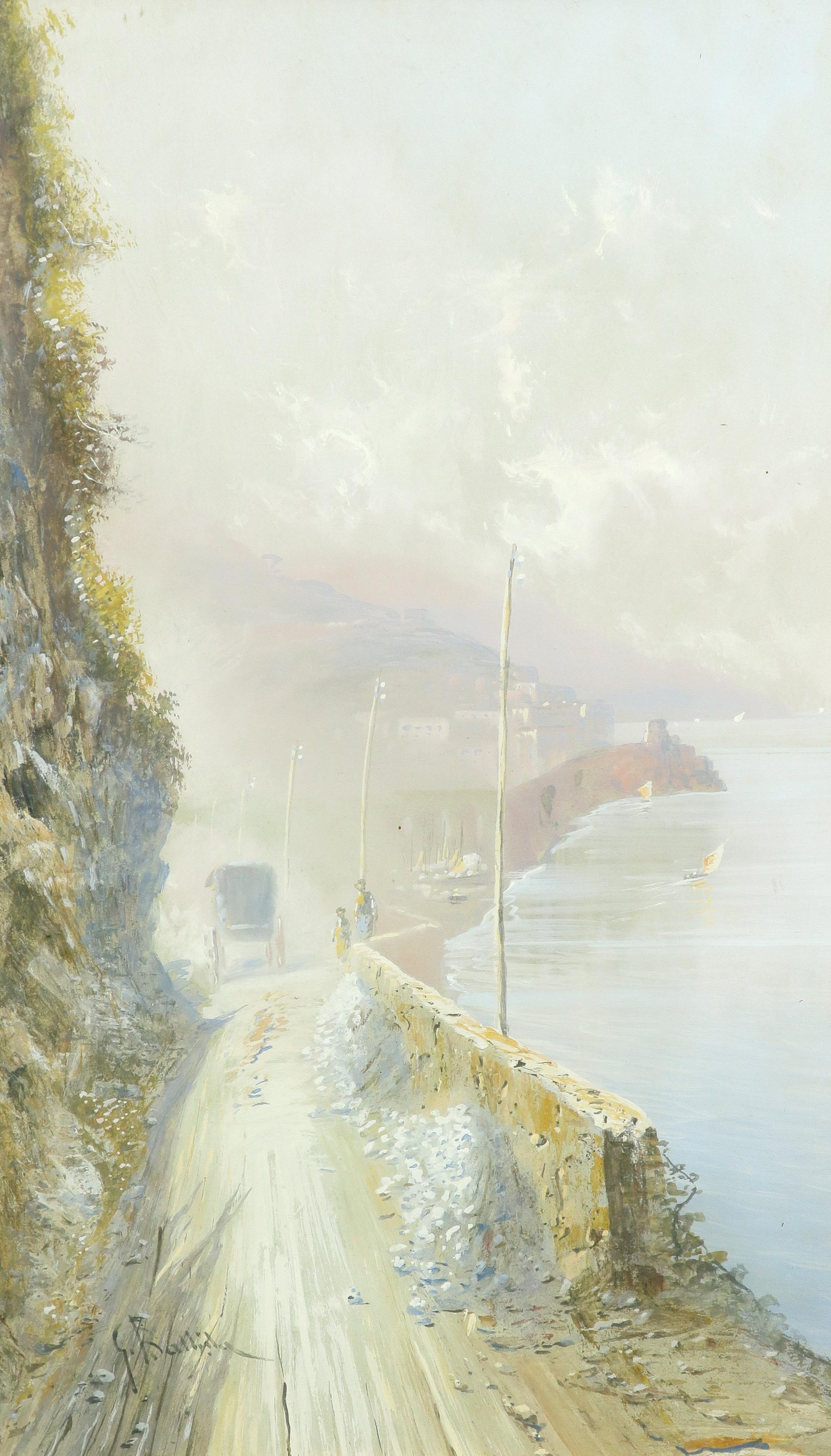 Giovanni Battista (Italian 1858-1925) View of the Faraglioni, Capri; View of a road on the Amalfi - Image 4 of 6
