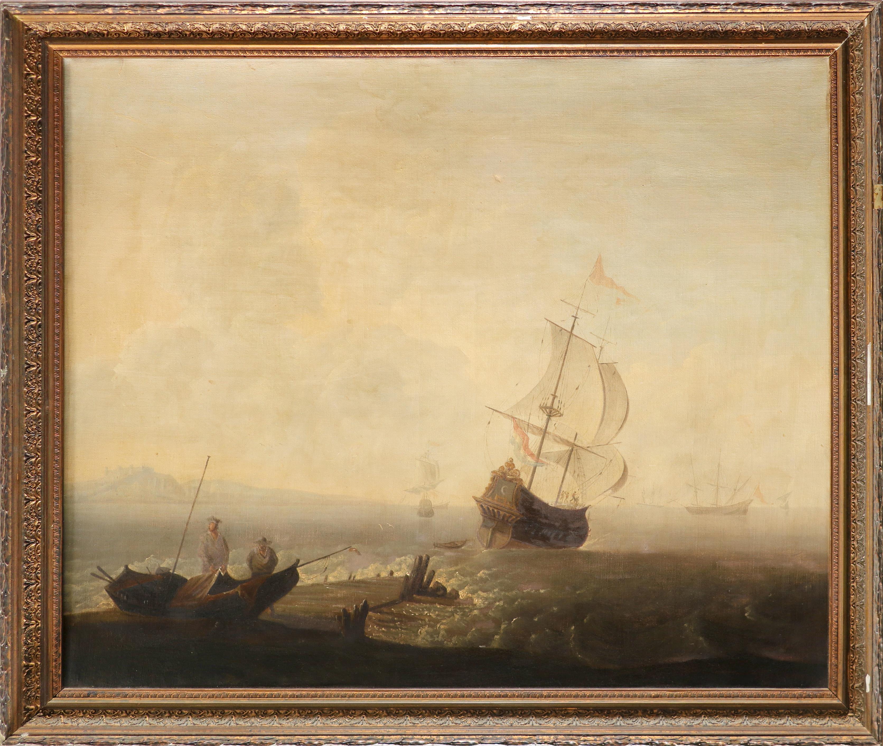 Adriaen Van Diest (Dutch 1655-1704) A Mediterranean coastal landscape at dawn, with a port in the - Image 5 of 6