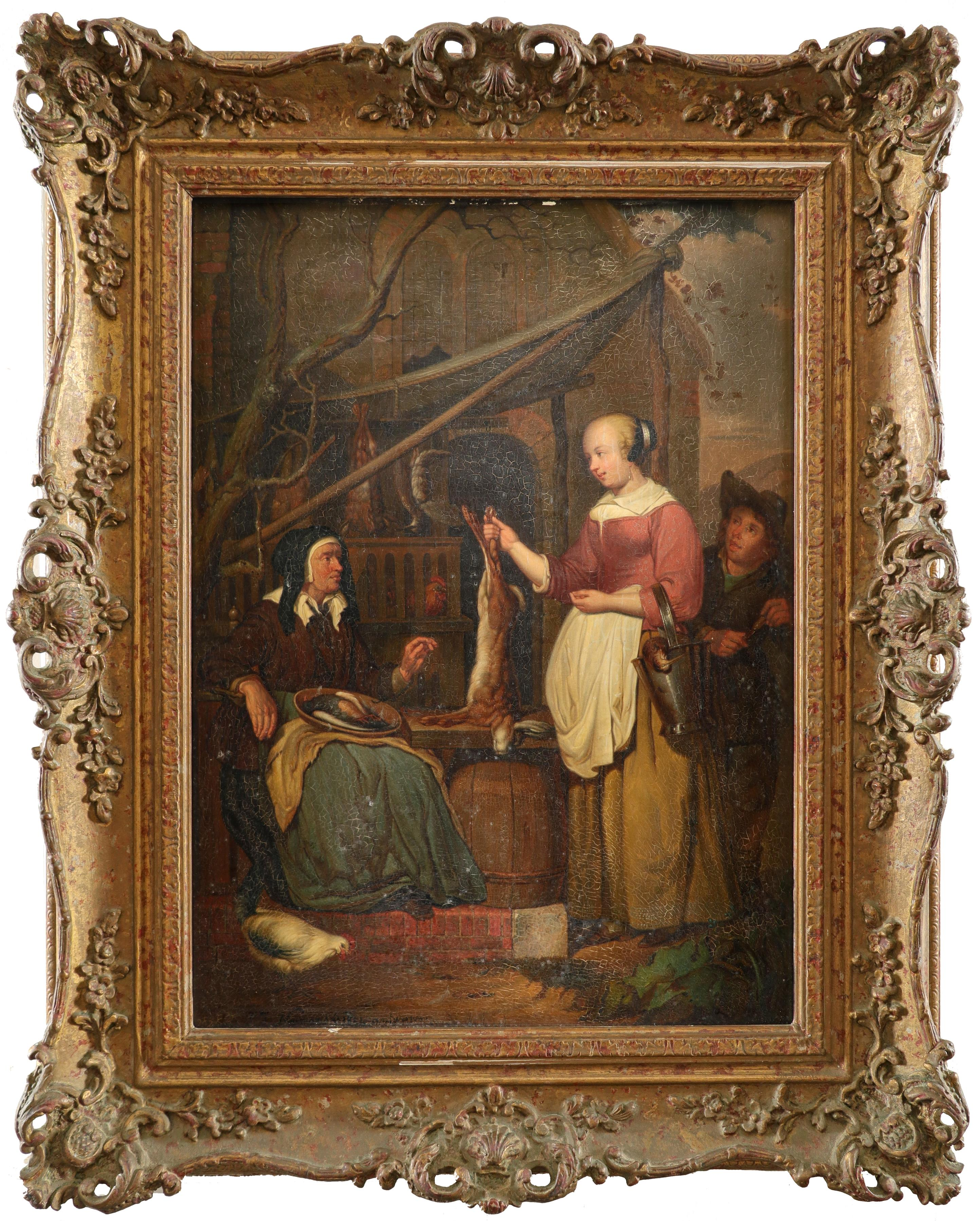 P. J. Neuman (Belgian 19th Century) after Gabriλl Metsu (Dutch 1629-1667) The old game dealer - Image 2 of 3