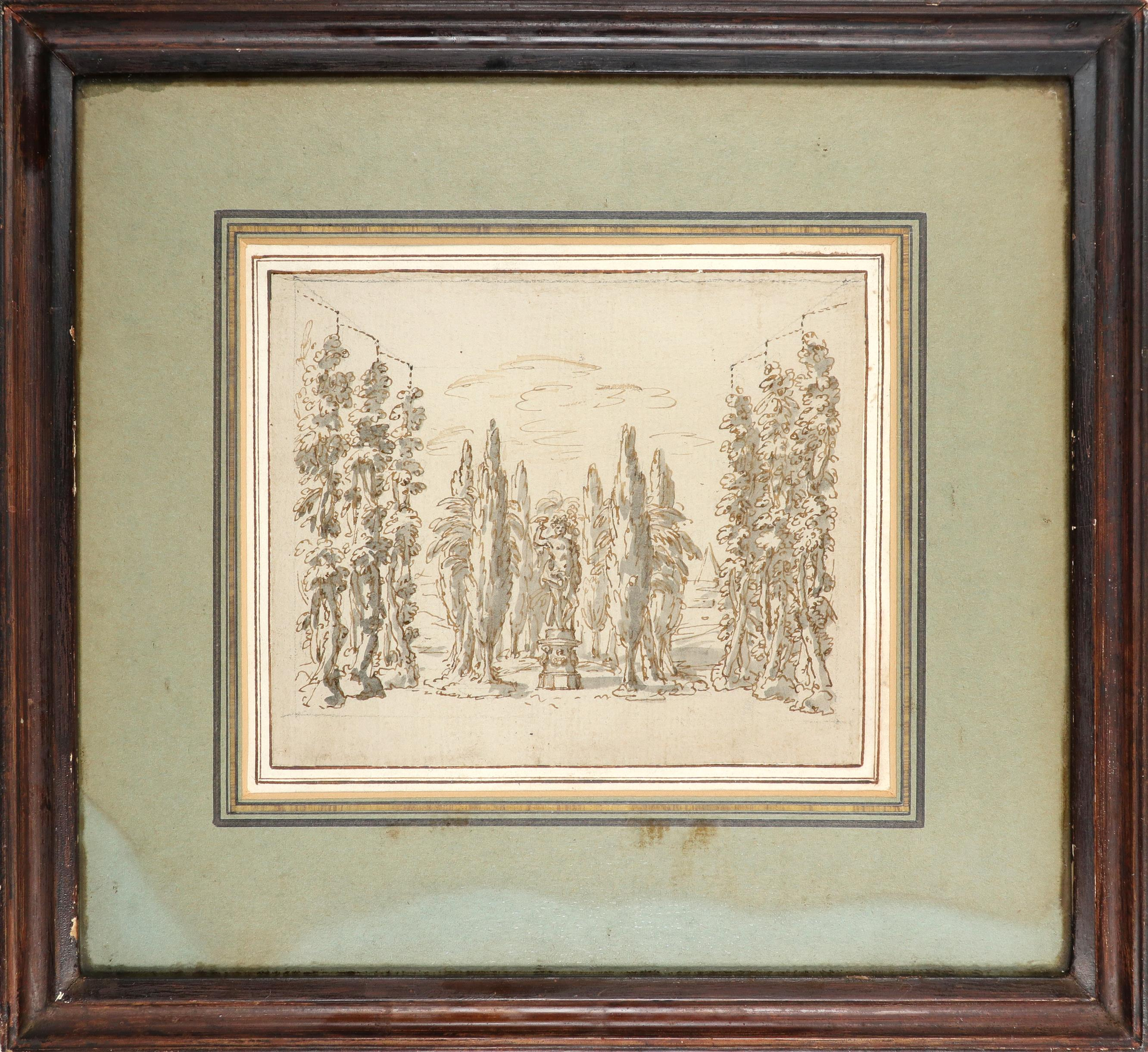 English School Early 18th Century Study of a statue of Bacchus amongst a grove of trees Pencil, - Image 2 of 3