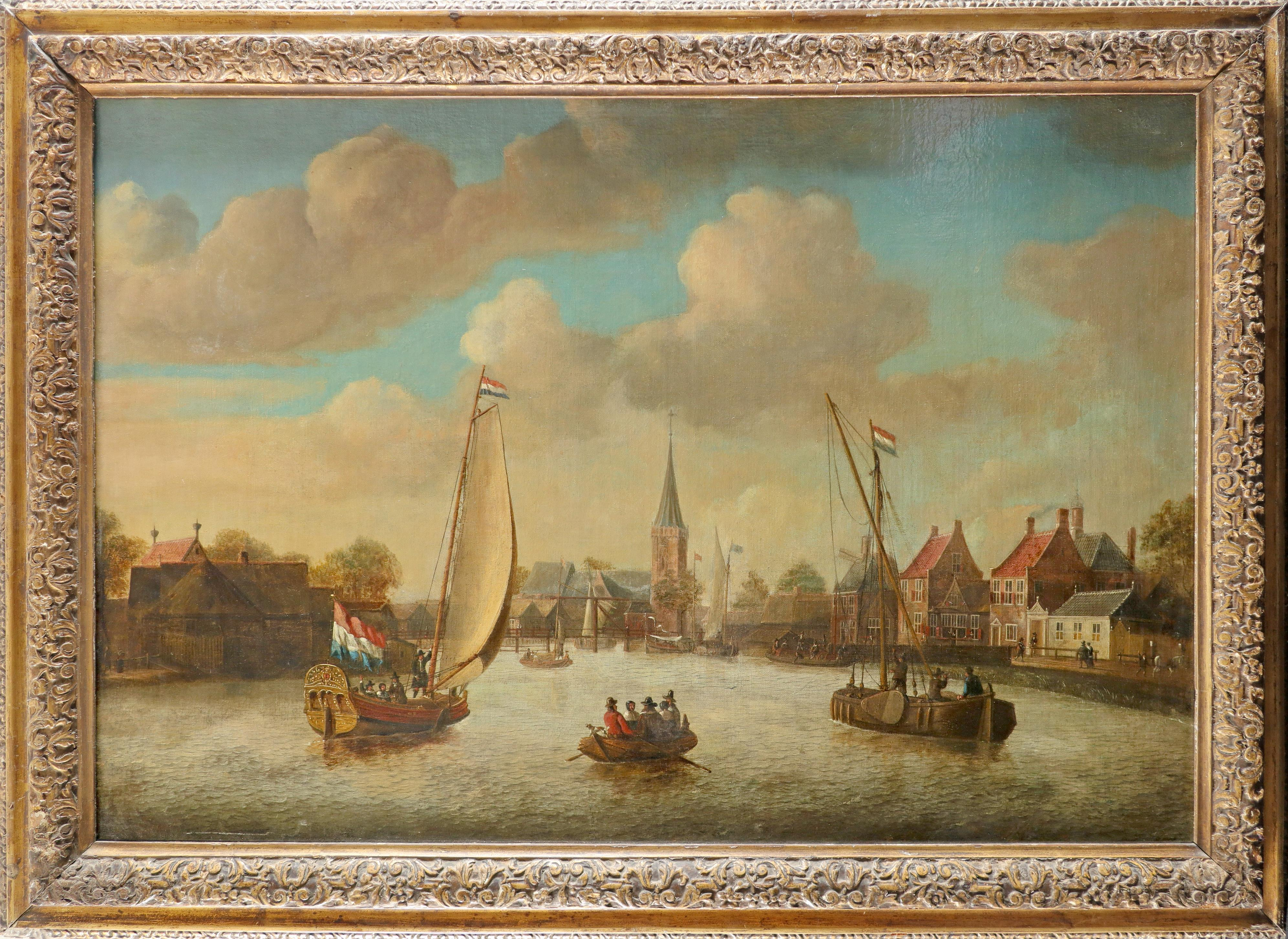 Follower of Jacobus Storck Dutch canal scene with elegant figures in boats and on the bank Bears a - Image 2 of 3