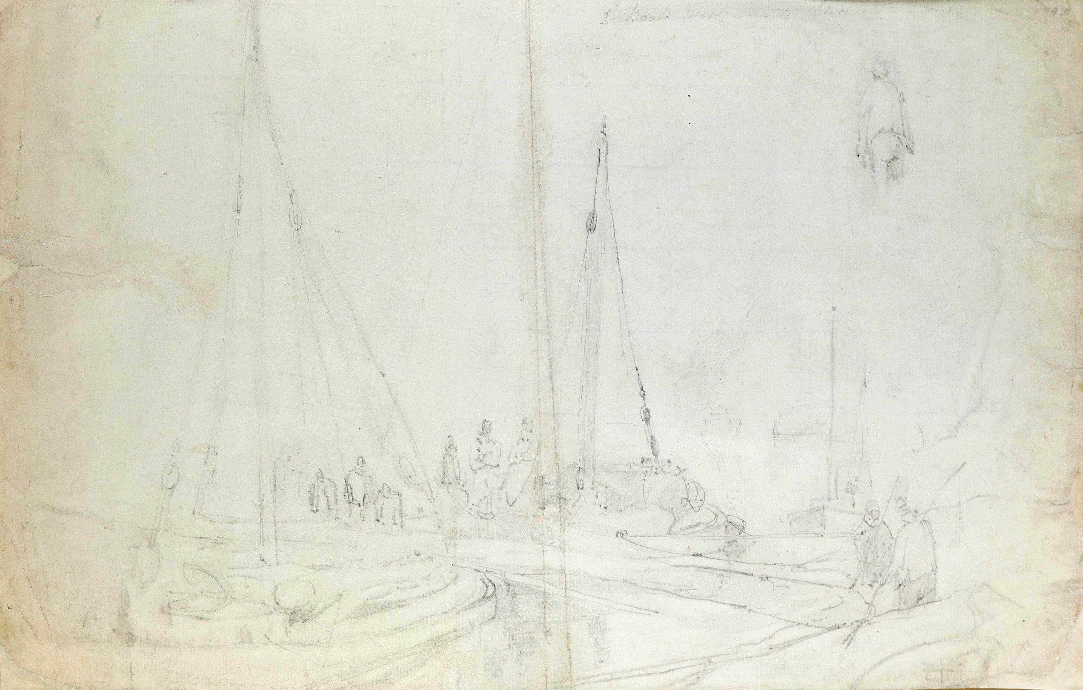 Circle of William Henry Pyne Studies of musicians (recto); Study of figures and a fishing boat ( - Image 3 of 3