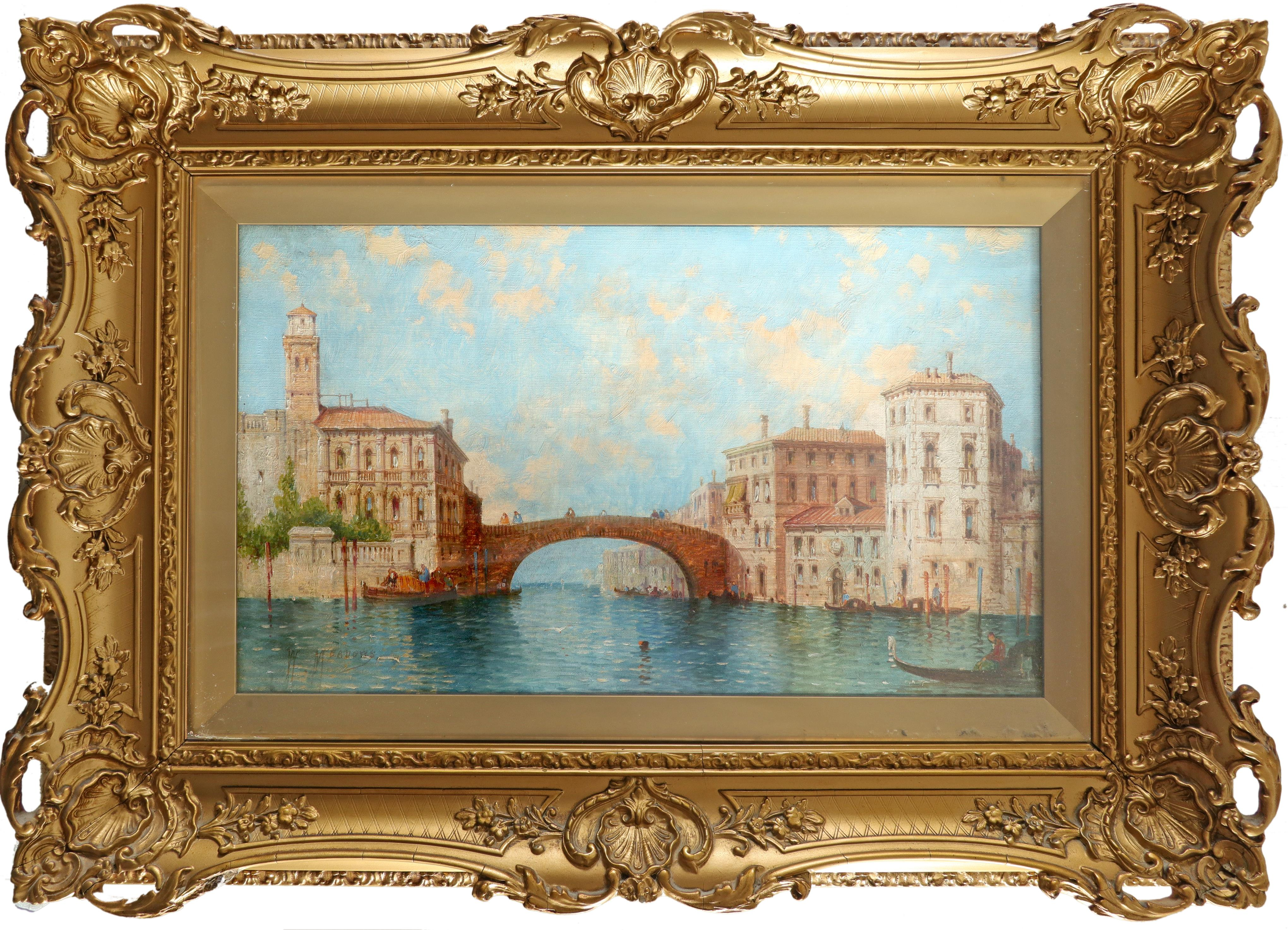 William Meadows (act.1870-1895) Entrance to a canal, Venice Signed W MEADOWS (lower left) Oil on - Image 2 of 3