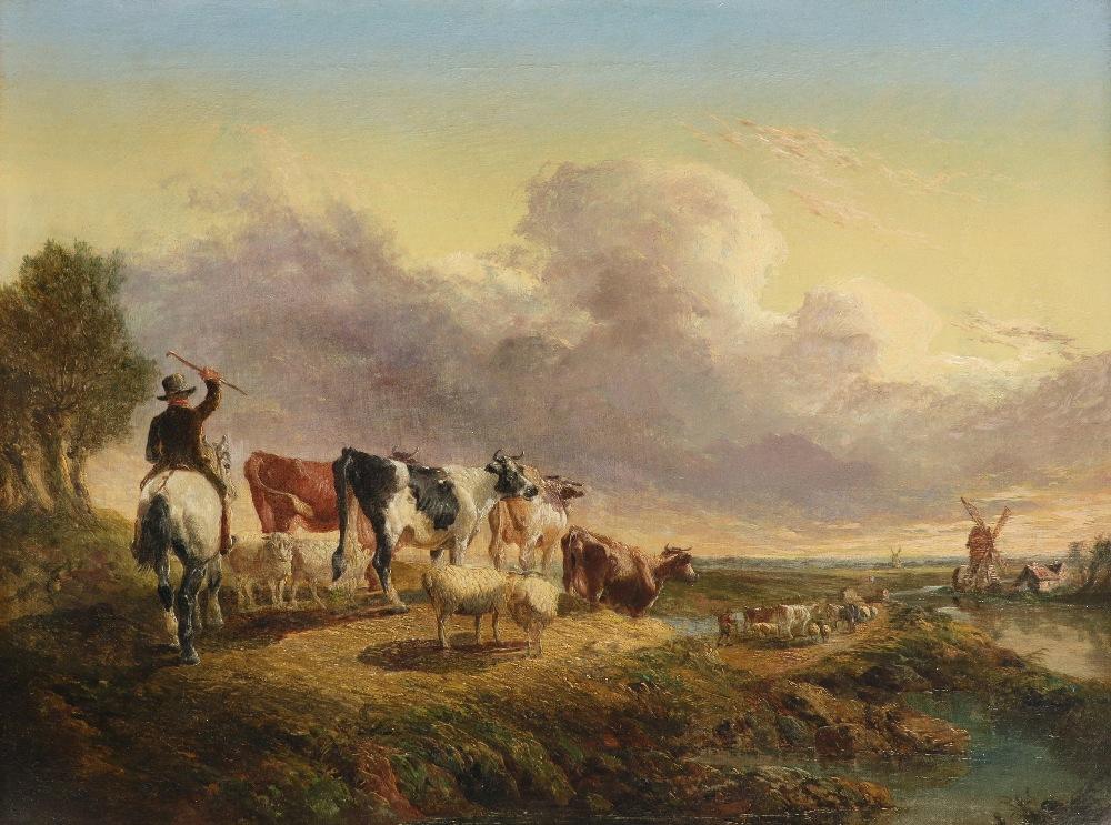 Follower of John Frederick Herring Snr. Taking the flock home at dusk Oil on canvas 44.2 x 59.8cm;