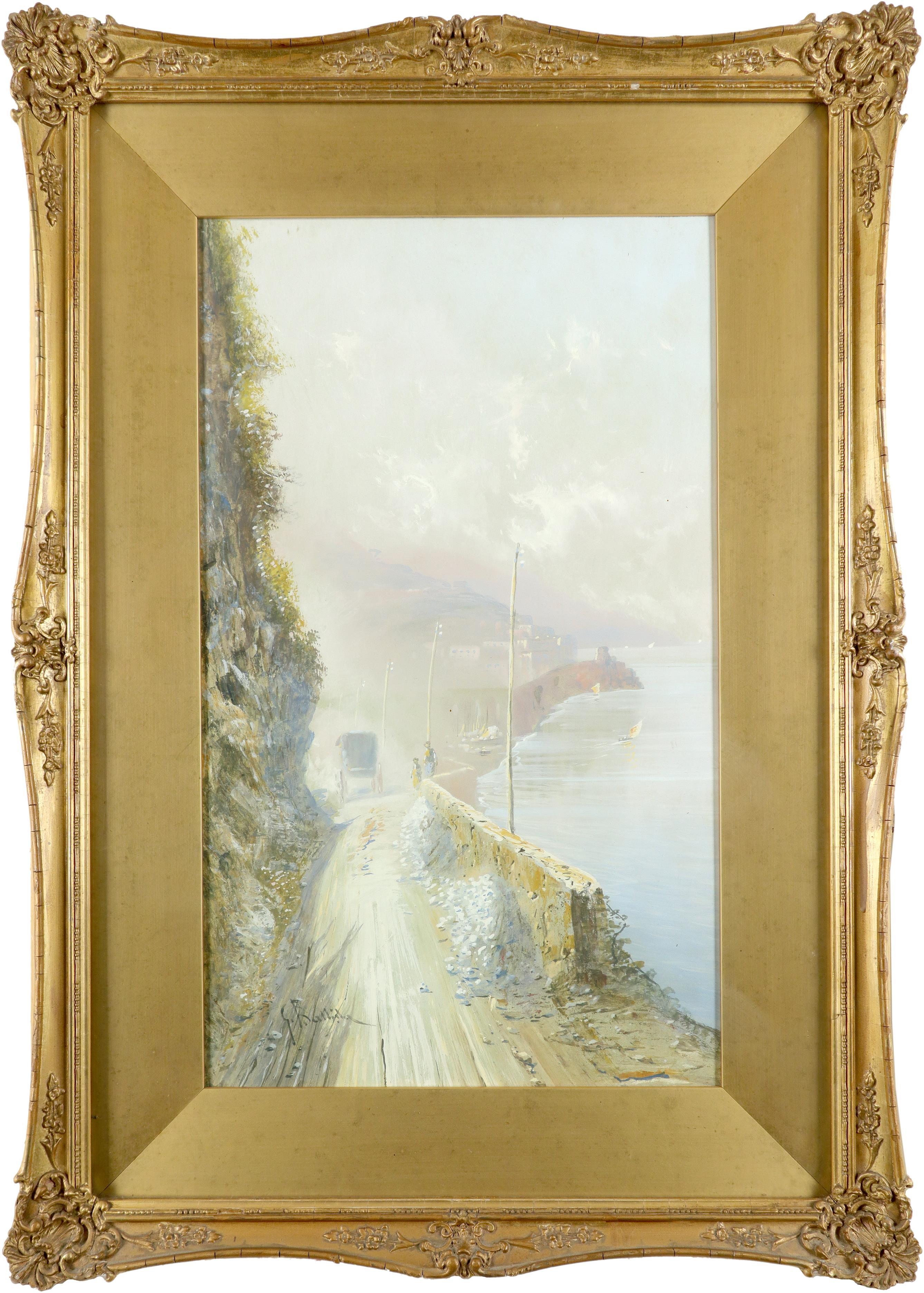 Giovanni Battista (Italian 1858-1925) View of the Faraglioni, Capri; View of a road on the Amalfi - Image 5 of 6