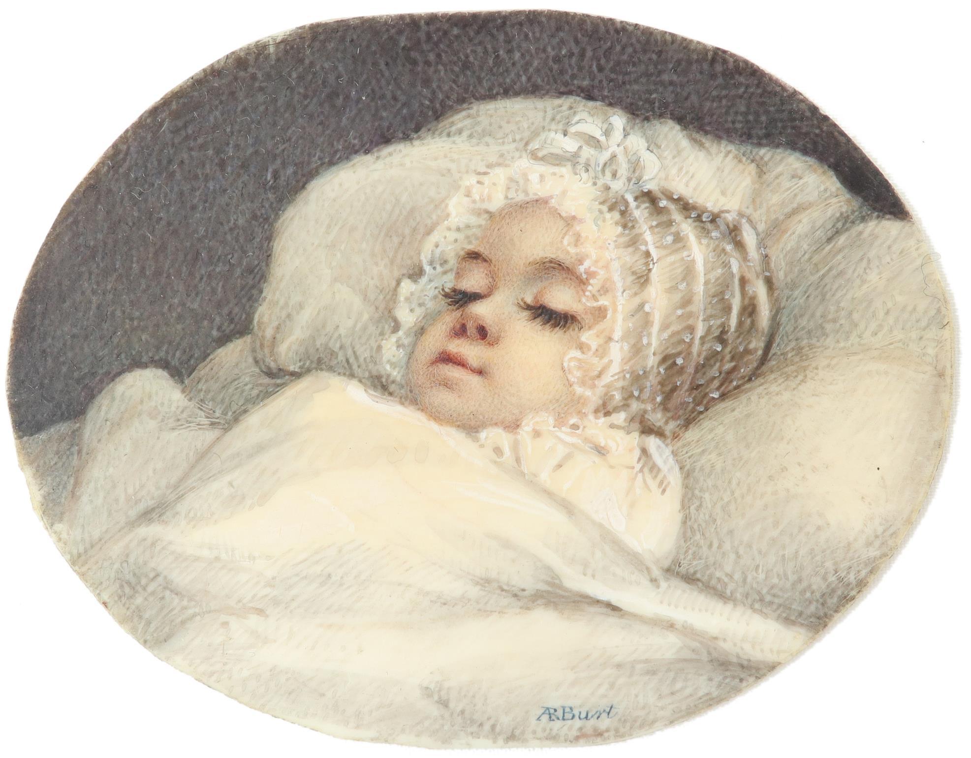 λAlbin Roberts Burt (1783-1842) Portrait of a sleeping baby Signed AR Burt (lower centre), and - Image 2 of 4