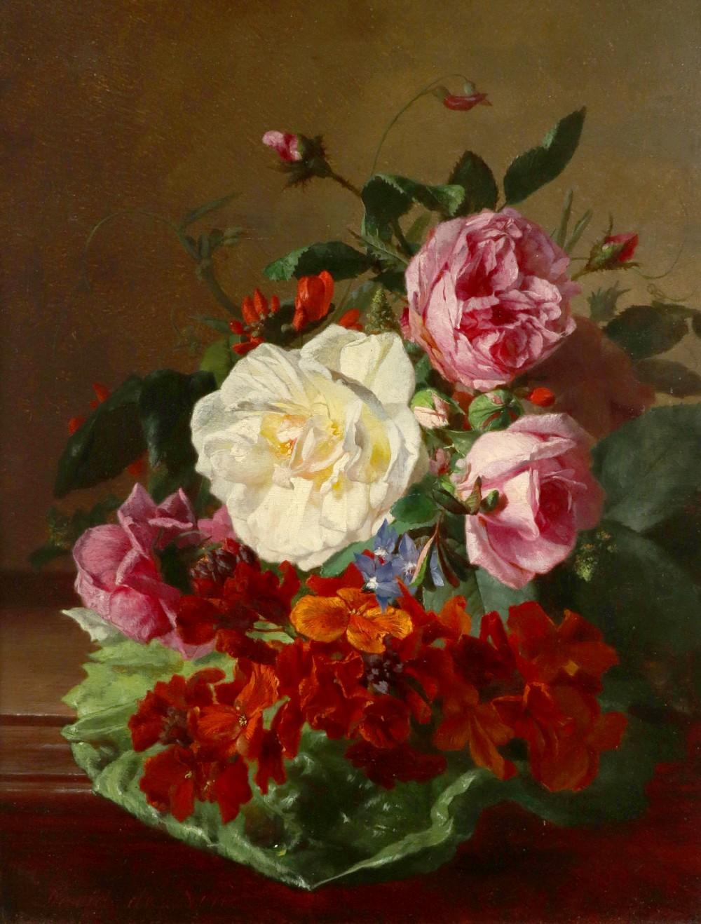 David Emil Joseph De Noter (Belgian 1825-1875) Still life with flowers on a ledge Signed David de