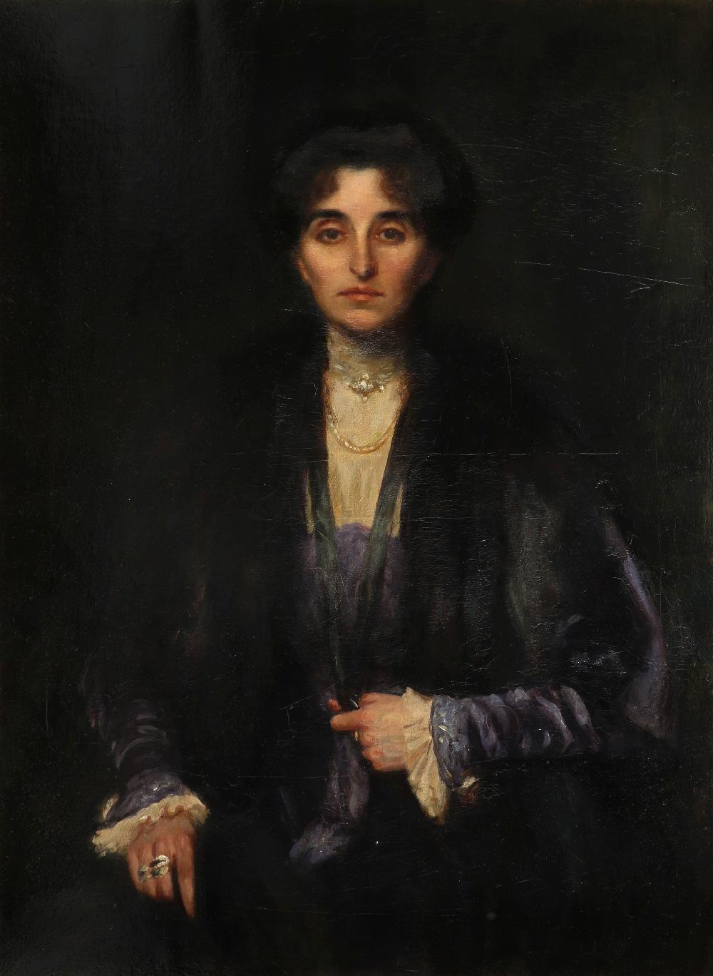 British School c.1900 Portrait of Nita Williams, three-quarter length, wearing a blue dress and