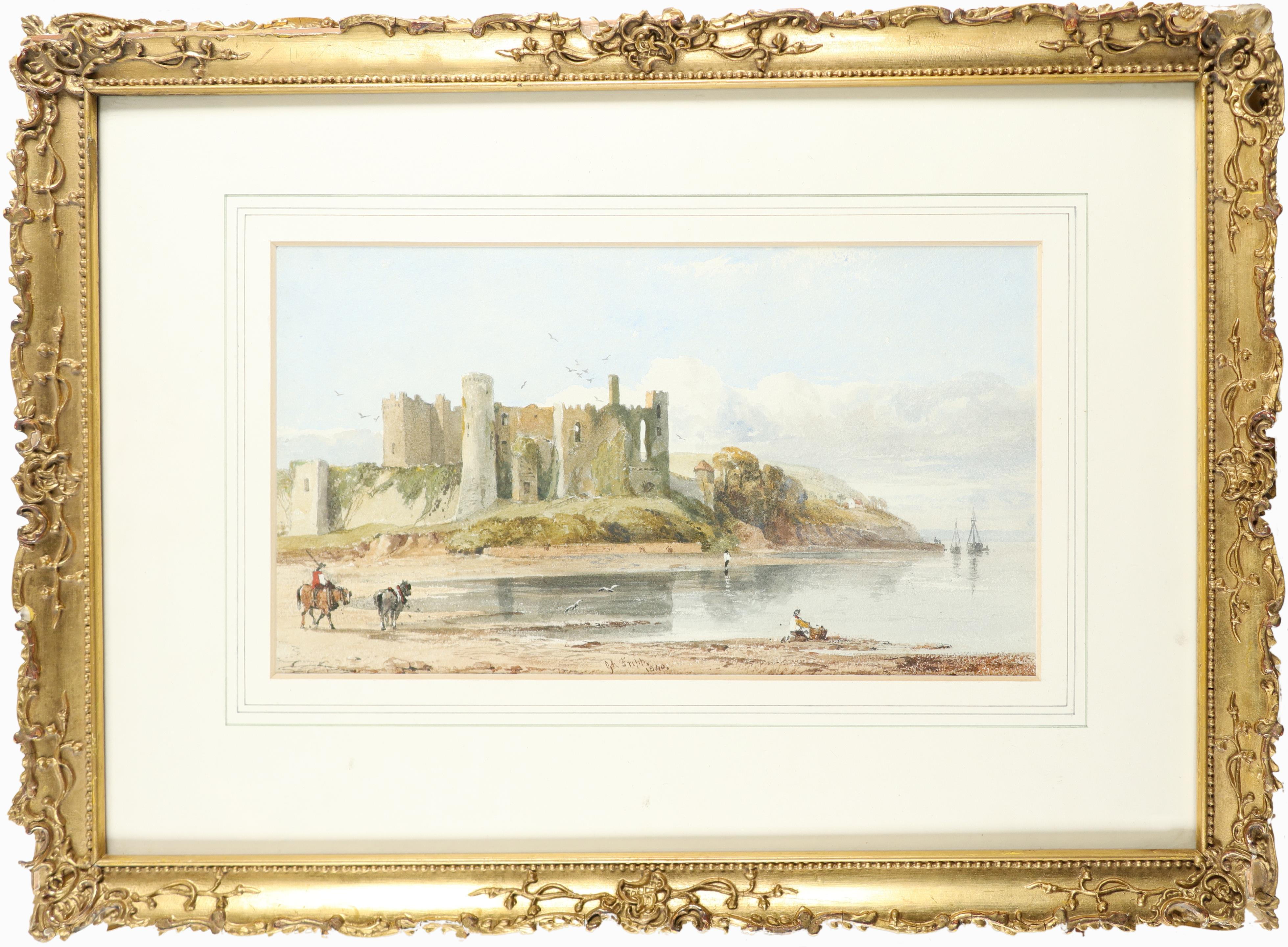 George Arthur Fripp (1813-1896) View of Laugharne Castle, Wales Signed G A Fripp. / 1840. (lower - Image 2 of 3