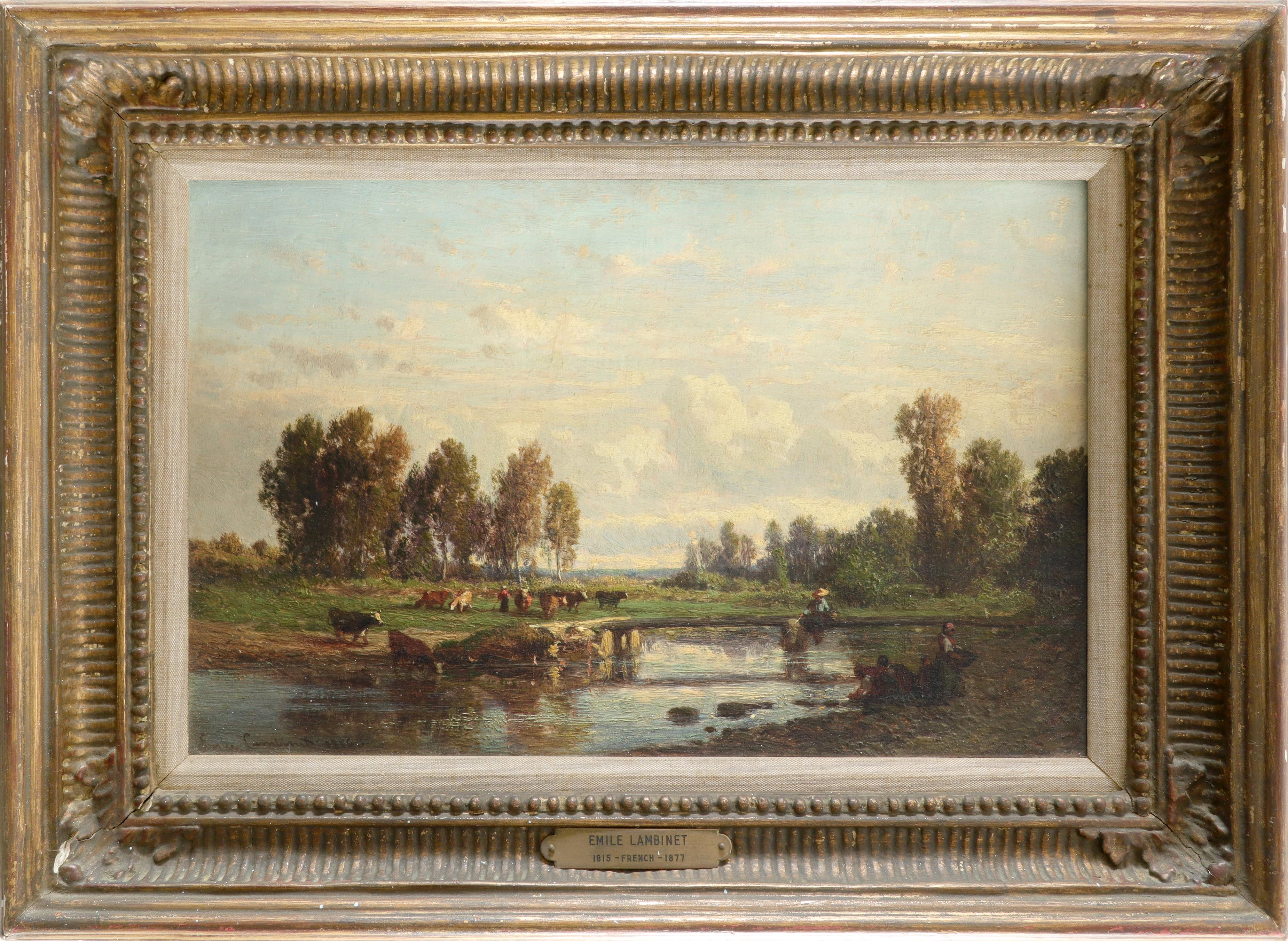 Émile Lambinet (French 1813-1877) Landscape with washerwomen by a river, and cattle grazing on the - Image 2 of 3
