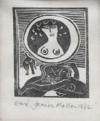 ‡Eric James Mellon (1925-2014) Lovers, 1982 wood block print on paper, framed signed and dated in