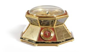 A FRENCH GILT BRASS AND RED MARBLE ASTROLABE BY HOUR LAVIGNE PARIS, C.1985 of octagonal shape, the