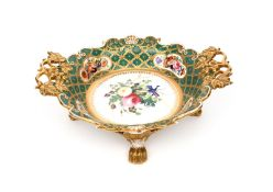 A large Davenport dish from the William IV service c.1830, the centre painted with a patriotic spray