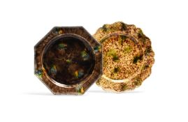 Two Whieldon type creamware plates c.1760, one octagonal and decorated with green and yellow