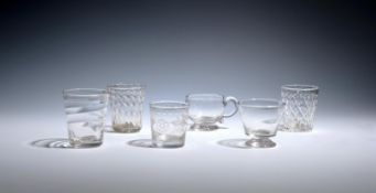Three small glass tumblers c.1760-80, one of Lynn type with horizontal moulding, two others with