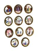 A rare set of eleven English enamel plaques late 18th/early 19th century, possibly made as furniture