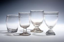 Three glass rummers and a tumbler late 18th/19th century, the tumbler engraved 'JMB' over 'White