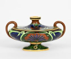 A Foley Wileman Later Shelley Intarsio pottery urn shaped vase designed by Frederick Rhead, model