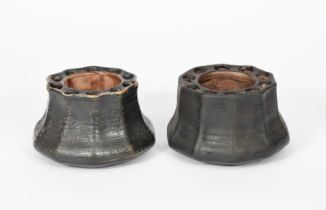 A pair of Martin Brothers stoneware gourd vases by Edwin & Walter Martin, dated 1909, shouldered,