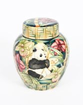 'Panda' a Moorcroft Pottery limited edition ginger jar and cover designed by Sian Leeper, painted in