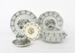 'Travel' a Wedgwood part dinner service designed by Eric Ravilious, printed in black and blue on a