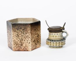 A Martin Brothers stoneware salt, with electroplated mount, incised with bands of geometric repeat