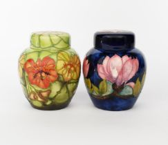 'Nasturtium' a Moorcroft Collector's Club ginger jar and cover designed by Sally Tuffin, painted