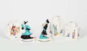 A pair of Royal Worcester Chinese figures designed by Agnes Pinder-Davies, model no.3397 and 3398,