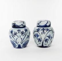 'Midnight Blue' a pair of modern Moorcroft Pottery ginger jar and covers, painted in shades of