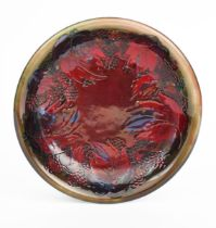 'Flambe Leaf and Blackberry' a Moorcroft Pottery plate designed by William Moorcroft, tubeline