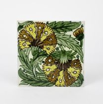 A William De Morgan Early Fulham Period Double Carnation large tile, painted in shades of yellow,