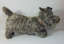 1930 toy 'Scottie' dog by Chad Valley with glass eyes, stitched nose and dual coloured mohair