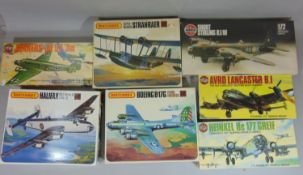 9 boxed model aircraft kits, all un-started, including Airfix Short Sterling (in cellophane),
