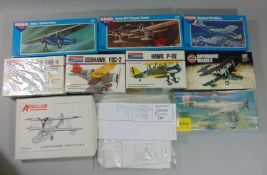 10 model aircraft kits, all un-started by Airfix, Monogram, Novo etc including Heller Dewoitine