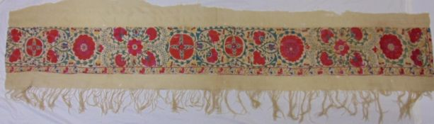 Antique Turkish / Uzbek Suzani textile section, with finely worked tambour stitch embroidery forming