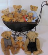 Collection of 10 old and reproduction teddies including 2 Merrythought bears with labels, 4 small