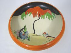 Clarice Cliff Woodland pattern large shallow dish, 30cm diameter