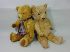 Chad Valley teddy bear circa 1930 with red stitched label on foot, height 52cm, with stitched mouth,